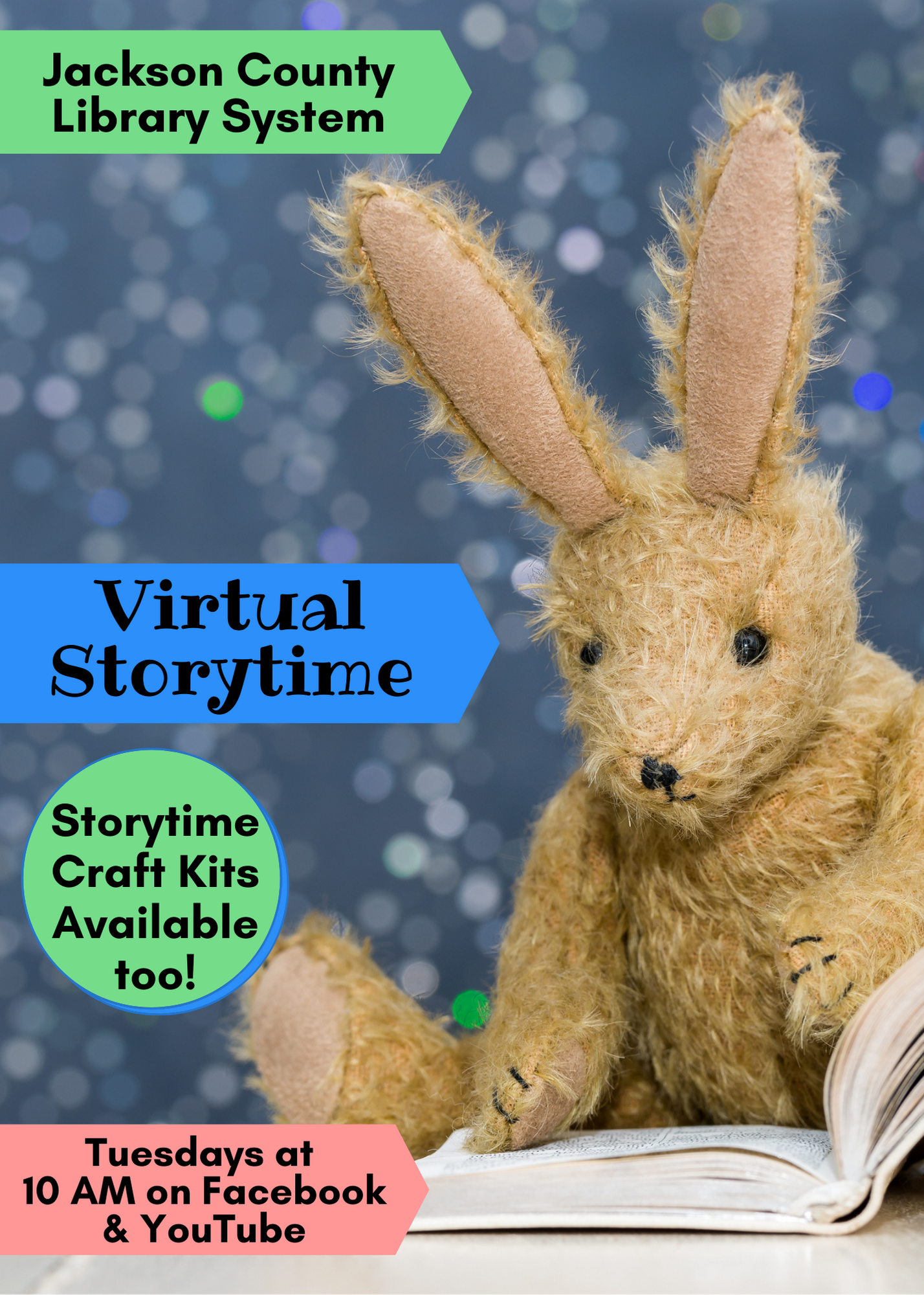 Virtual Storytime on Facebook and YouTube Tuesdays at 10 AM